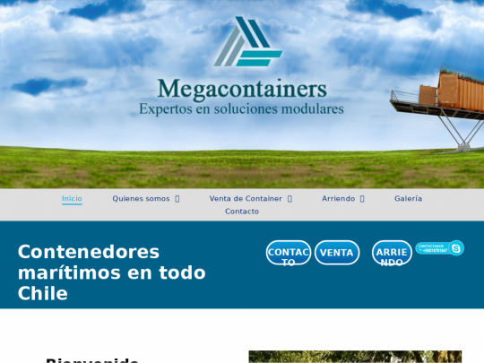 Tablet screenshot of www.megacontainers.cl