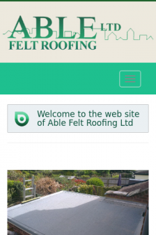 Mobile screenshot of www.ablefeltroofing.co.uk