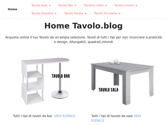 Tablet screenshot of www.tavolo.blog