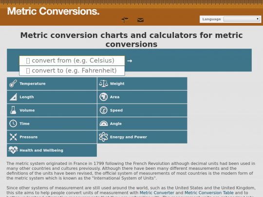 Tablet screenshot of www.metric-conversions.org