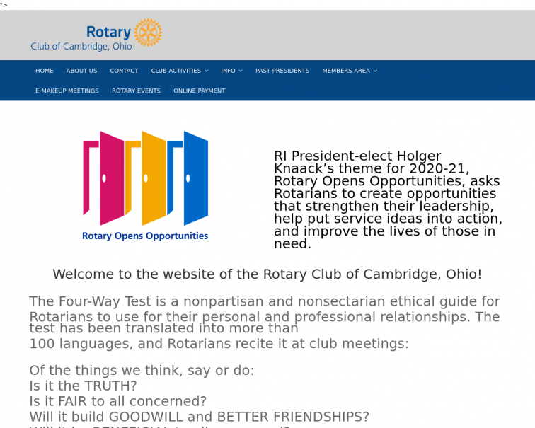 Screenshot of www.cambridgeohiorotary.org