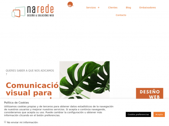 Tablet screenshot of www.narede.es