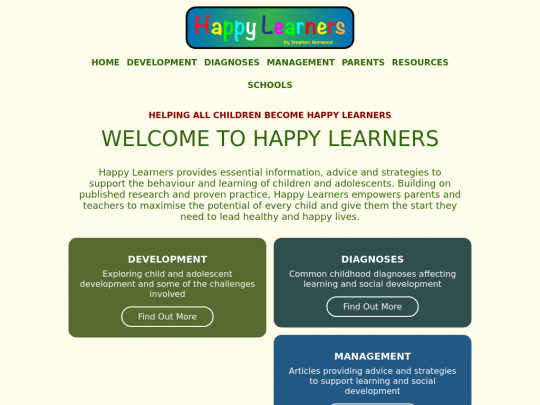 Tablet screenshot of happylearners.info