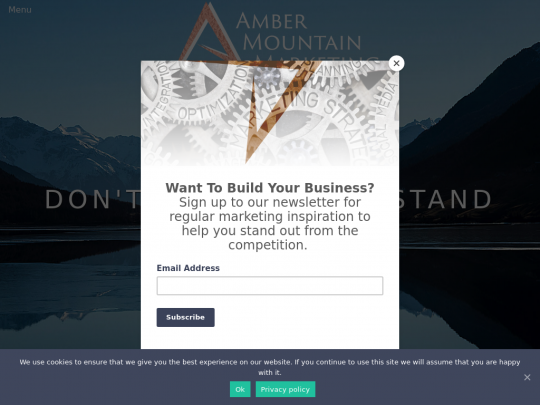 Tablet screenshot of ambermountainmarketing.co.uk