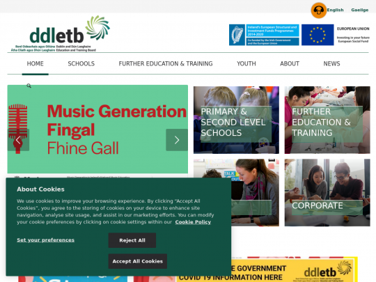 Tablet screenshot of www.ddletb.ie