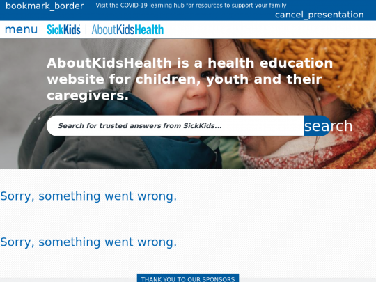 Tablet screenshot of www.aboutkidshealth.ca