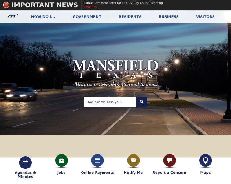 Screenshot of www.mansfieldtexas.gov