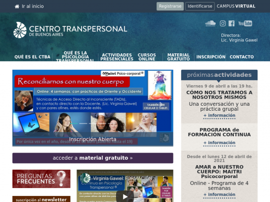 Tablet screenshot of www.centrotranspersonal.com.ar