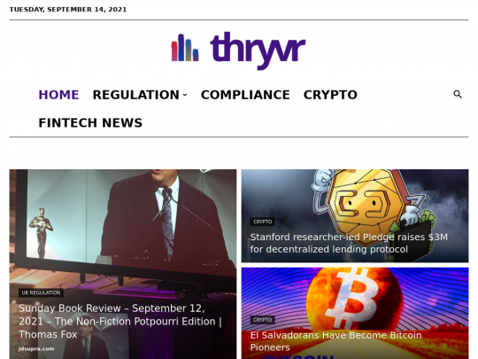Tablet screenshot of thryvr.co
