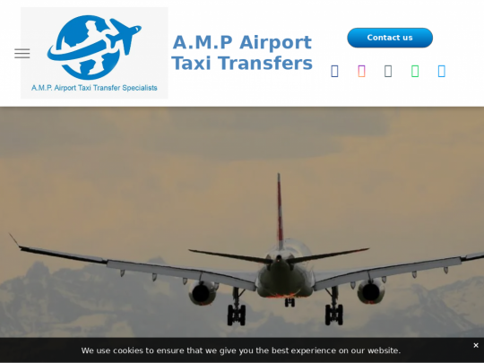 Tablet screenshot of www.amp-airport-taxis.co.uk
