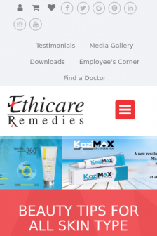 Mobile screenshot of www.ethicare.in