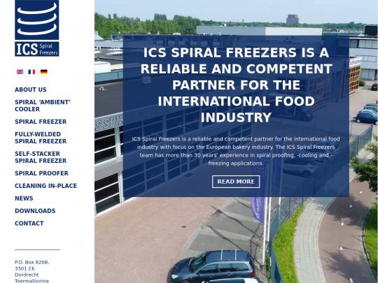 Tablet screenshot of www.ics-spiralfreezers.nl