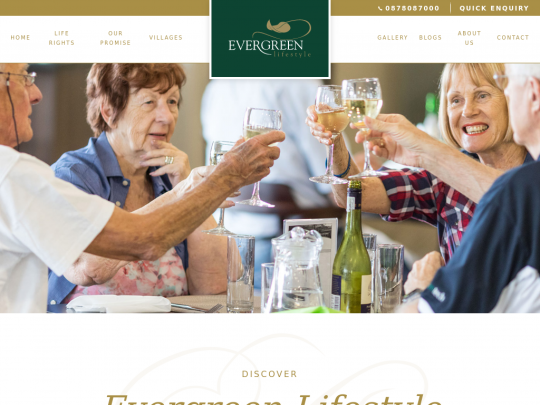 Tablet screenshot of www.evergreenlifestyle.co.za