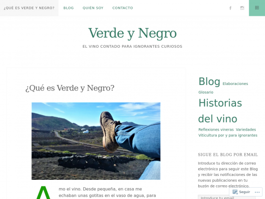 Tablet screenshot of verdeynegro.es