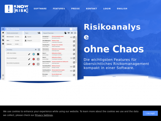 Tablet screenshot of www.knowrisk.at