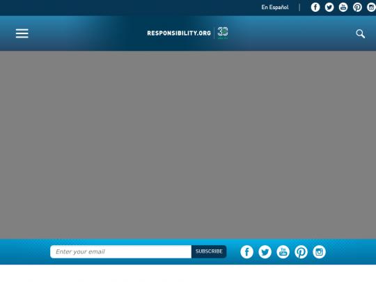 Tablet screenshot of www.responsibility.org