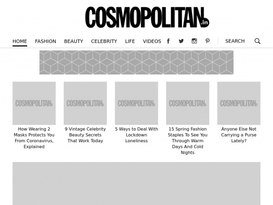 Tablet screenshot of www.cosmopolitan.in