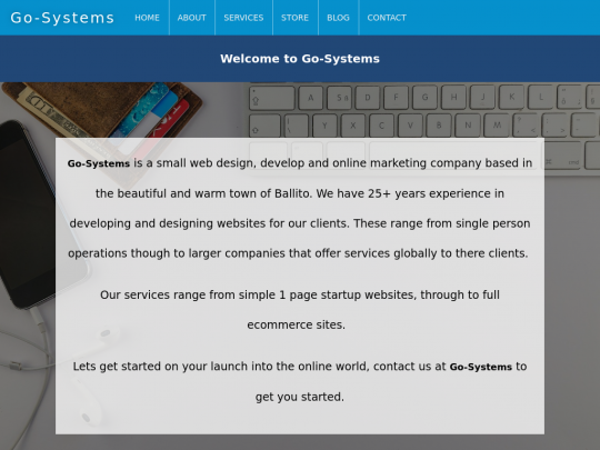 Tablet screenshot of www.go-systems.co.za
