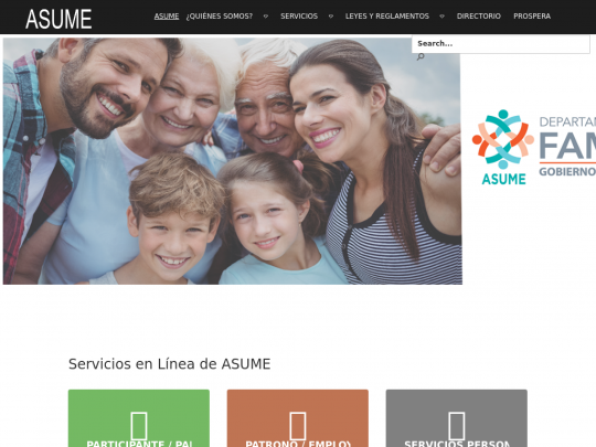 Tablet screenshot of www.asume.pr.gov