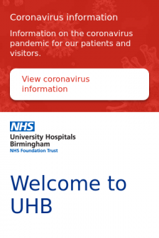 Mobile screenshot of www.uhb.nhs.uk