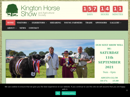 Tablet screenshot of kingtonshow.co.uk