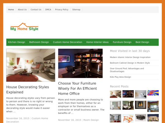 Tablet screenshot of www.myhomestyle.org