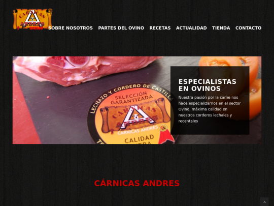 Tablet screenshot of www.carnicas-andres.es