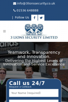 Mobile screenshot of 3lionssecurity.co.uk