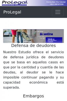 Mobile screenshot of www.pro-legal.cl