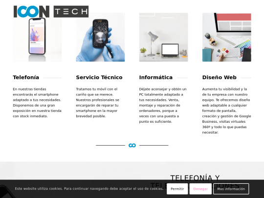 Tablet screenshot of www.icontech.es
