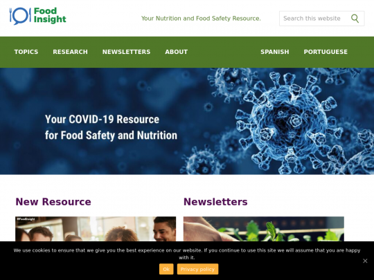 Tablet screenshot of foodinsight.org