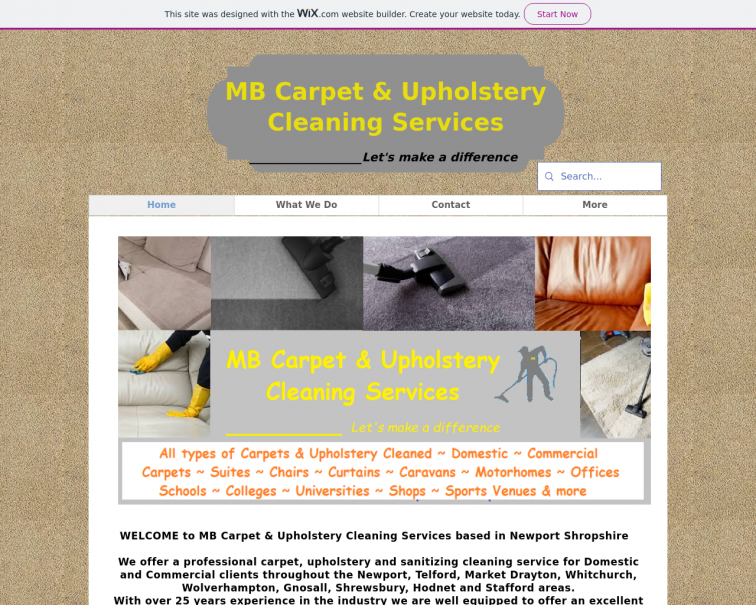 Screenshot of www.mbcarpetandupholsterycleaningservices.co.uk