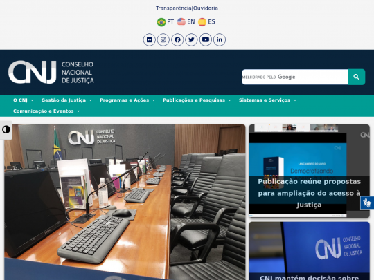 Tablet screenshot of www.cnj.jus.br