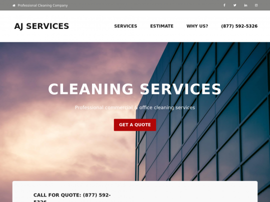 Tablet screenshot of www.ajservices.us