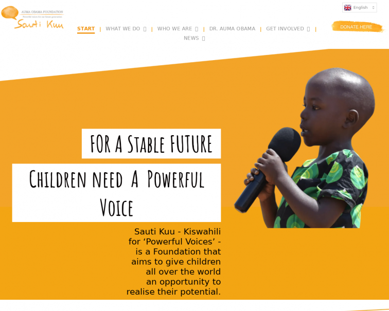 Screenshot of www.sautikuufoundation.org