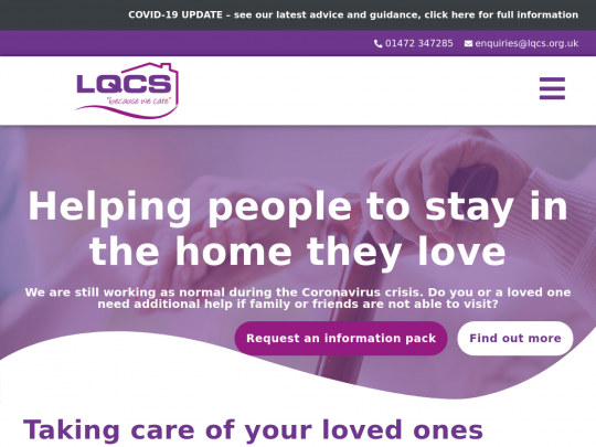 Tablet screenshot of www.lincolnshirequalitycare.co.uk
