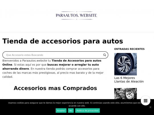 Tablet screenshot of www.paraautos.website