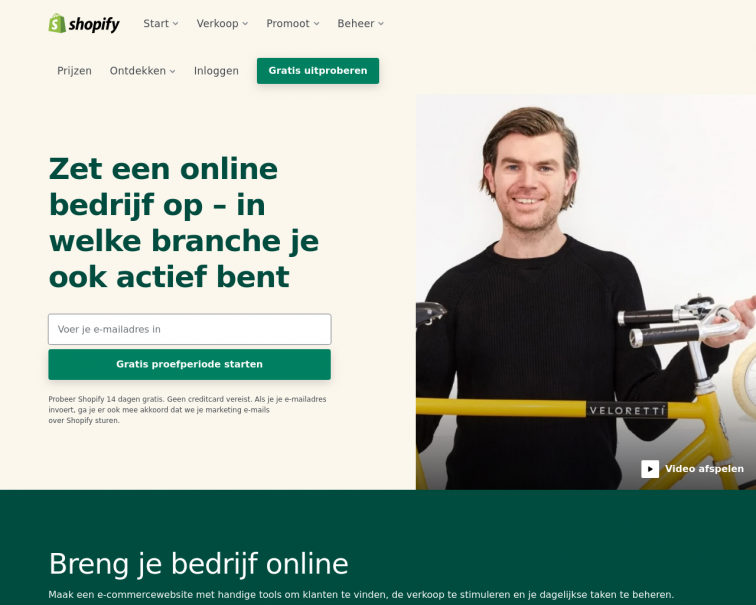 Screenshot of www.shopify.nl