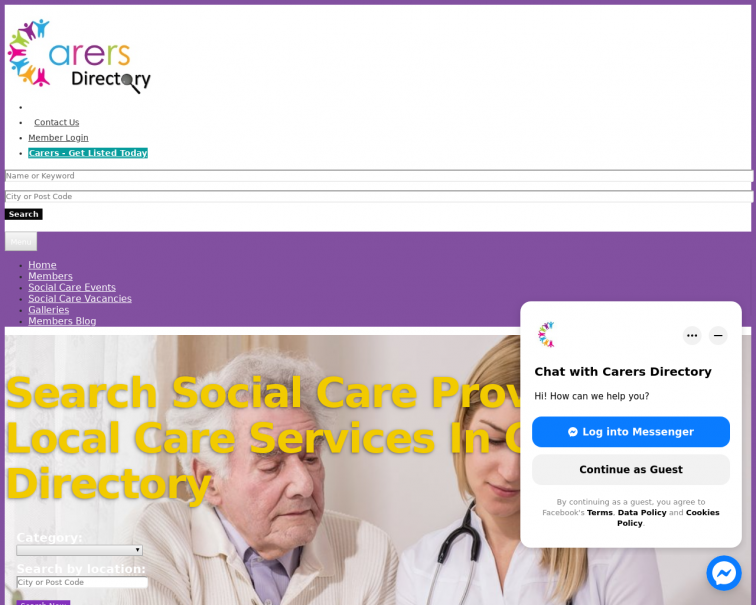Screenshot of www.carersdirectory.co.uk