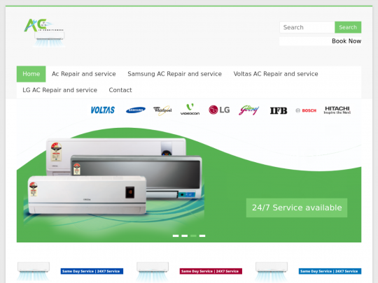 Tablet screenshot of acairconditioners.in