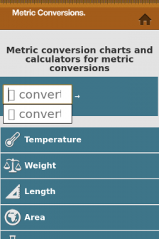 Mobile screenshot of www.metric-conversions.org