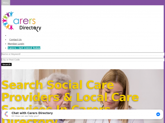 Tablet screenshot of www.carersdirectory.co.uk