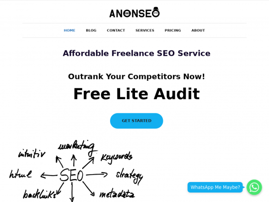 Tablet screenshot of www.anonseo.co