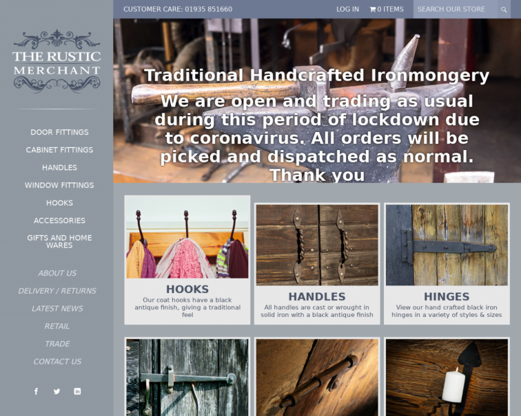 Screenshot of www.therusticmerchant.co.uk