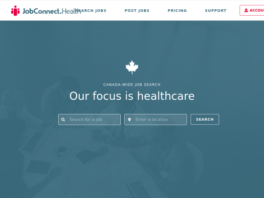 Tablet screenshot of jobconnect.health