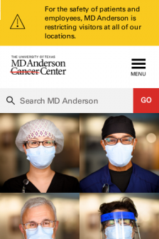 Mobile screenshot of www.mdanderson.org