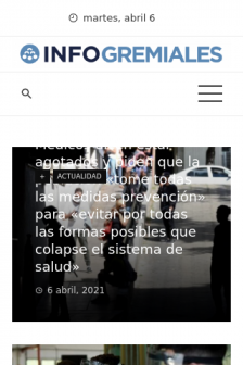 Mobile screenshot of www.infogremiales.com.ar