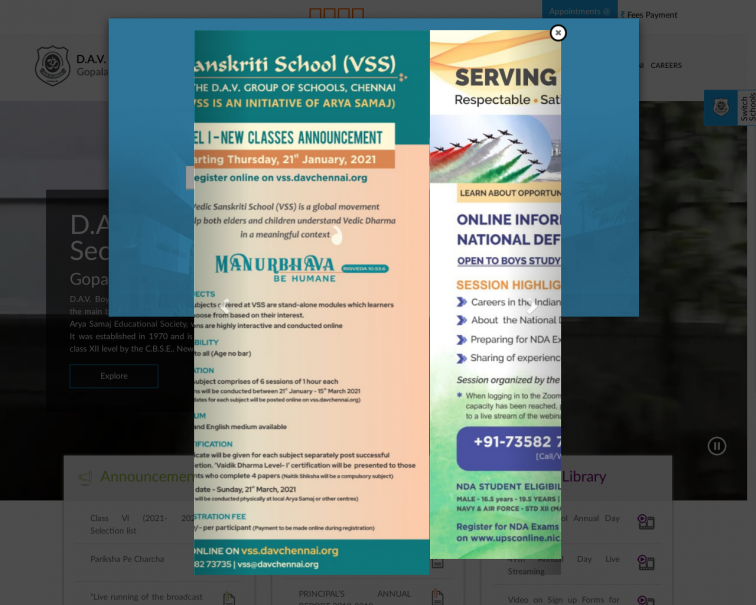 Screenshot of www.davchennai.org