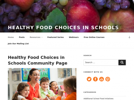 Tablet screenshot of healthy-food-choices-in-schools.extension.org