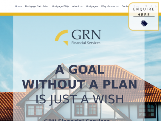 Tablet screenshot of www.grnfinancialservices.co.uk